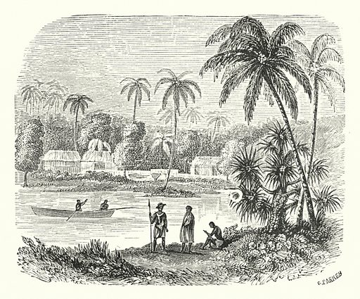 Raiatea. Illustration for Our Parlour Panorama by Mrs George Cupples (T Nelson, 1882).