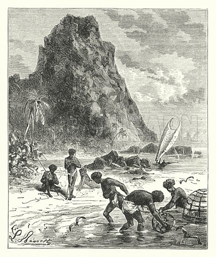 Natives of New Caledonia fishing. Illustration for Our Parlour Panorama by Mrs George Cupples (T Nelson, 1882).