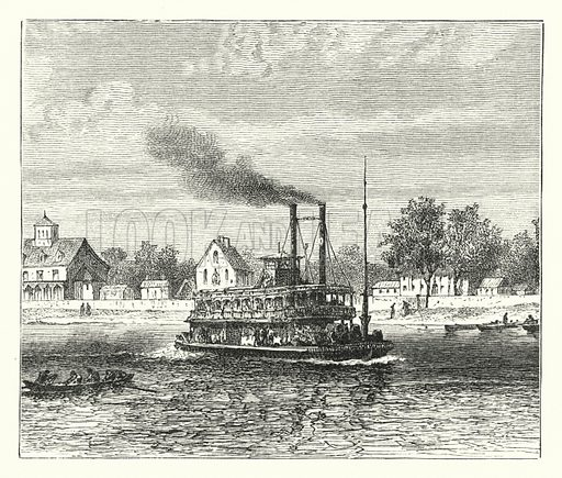 American saloon steamer. Illustration for Our Parlour Panorama by Mrs George Cupples (T Nelson, 1882).