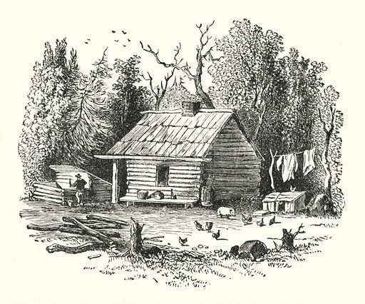 A log cabin. Illustration for Our Parlour Panorama by Mrs George Cupples (T Nelson, 1882).