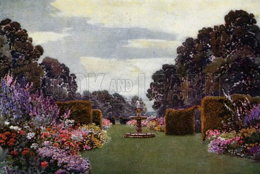 Herbaceous Borders at Welbeck. Illustration for Hardy Perennials and Herbaceous Borders by Walter P Wright (Swarthmore, 1912).