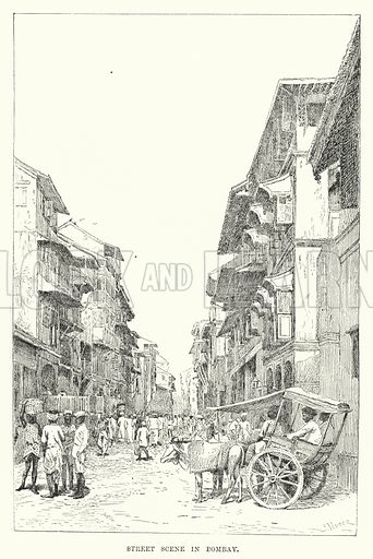 Street Scene in Bombay. Illustration for Picturesque India, A Handbook for European Travellers (George Routledge, 1898).  Illustrations drawn by John Pedder (1850-1929), H Sheppard Dale (1852-1921), and H H Stanton (fl 1880-1905).