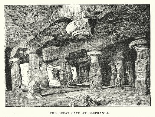 The Great Cave at Elephanta. Illustration for Picturesque India, A Handbook for European Travellers (George Routledge, 1898).  Illustrations drawn by John Pedder (1850-1929), H Sheppard Dale (1852-1921), and H H Stanton (fl 1880-1905).