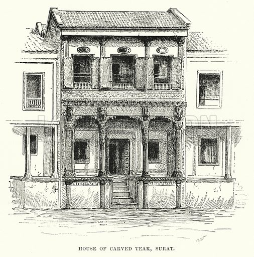 House of Carved Teak, Surat. Illustration for Picturesque India, A Handbook for European Travellers (George Routledge, 1898).  Illustrations drawn by John Pedder (1850-1929), H Sheppard Dale (1852-1921), and H H Stanton (fl 1880-1905).