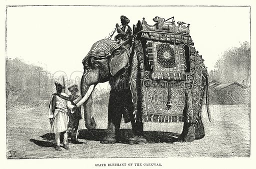 State Elephant of the Gaekwar. Illustration for Picturesque India, A Handbook for European Travellers (George Routledge, 1898).  Illustrations drawn by John Pedder (1850-1929), H Sheppard Dale (1852-1921), and H H Stanton (fl 1880-1905).