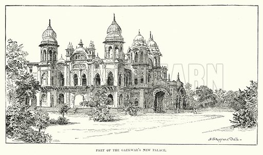 Part of the Gaekwar's New Palace. Illustration for Picturesque India, A Handbook for European Travellers (George Routledge, 1898).  Illustrations drawn by John Pedder (1850-1929), H Sheppard Dale (1852-1921), and H H Stanton (fl 1880-1905).