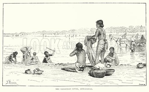 The Sabarmati River, Ahmadabad. Illustration for Picturesque India, A Handbook for European Travellers (George Routledge, 1898).  Illustrations drawn by John Pedder (1850-1929), H Sheppard Dale (1852-1921), and H H Stanton (fl 1880-1905).
