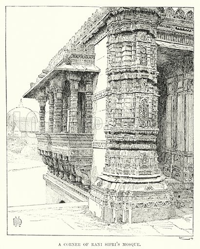 A Corner of Rani Sipri's Mosque. Illustration for Picturesque India, A Handbook for European Travellers (George Routledge, 1898).  Illustrations drawn by John Pedder (1850-1929), H Sheppard Dale (1852-1921), and H H Stanton (fl 1880-1905).