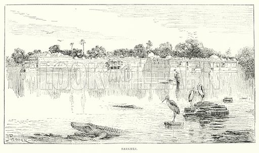 Sarkhej. Illustration for Picturesque India, A Handbook for European Travellers (George Routledge, 1898).  Illustrations drawn by John Pedder (1850-1929), H Sheppard Dale (1852-1921), and H H Stanton (fl 1880-1905).