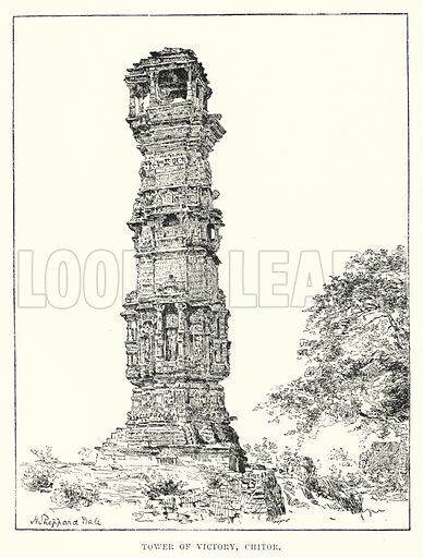 Tower of Victory, Chitor. Illustration for Picturesque India, A Handbook for European Travellers (George Routledge, 1898).  Illustrations drawn by John Pedder (1850-1929), H Sheppard Dale (1852-1921), and H H Stanton (fl 1880-1905).