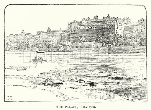 The Palace, Udaipur. Illustration for Picturesque India, A Handbook for European Travellers (George Routledge, 1898).  Illustrations drawn by John Pedder (1850-1929), H Sheppard Dale (1852-1921), and H H Stanton (fl 1880-1905).