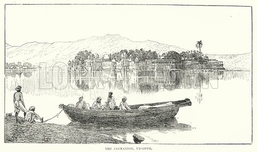 The Jagmandir, Udaipur. Illustration for Picturesque India, A Handbook for European Travellers (George Routledge, 1898).  Illustrations drawn by John Pedder (1850-1929), H Sheppard Dale (1852-1921), and H H Stanton (fl 1880-1905).