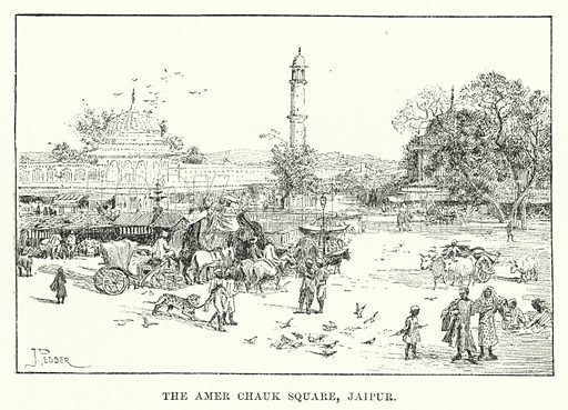 The Amer Chauk Square, Jaipur. Illustration for Picturesque India, A Handbook for European Travellers (George Routledge, 1898).  Illustrations drawn by John Pedder (1850-1929), H Sheppard Dale (1852-1921), and H H Stanton (fl 1880-1905).