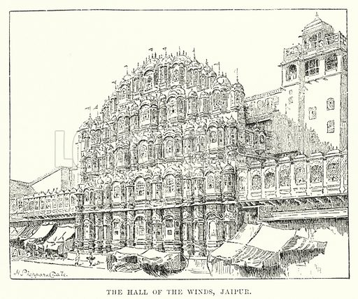 The Hall of the Winds, Jaipur. Illustration for Picturesque India, A Handbook for European Travellers (George Routledge, 1898).  Illustrations drawn by John Pedder (1850-1929), H Sheppard Dale (1852-1921), and H H Stanton (fl 1880-1905).