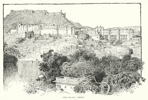 The Palace, Amber. Illustration for Picturesque India, A Handbook for European Travellers (George Routledge, 1898).  Illustrations drawn by John Pedder (1850-1929), H Sheppard Dale (1852-1921), and H H Stanton (fl 1880-1905).