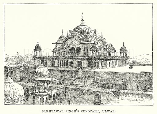Bakhtawar Singh's Cenotaph, Ulwar. Illustration for Picturesque India, A Handbook for European Travellers (George Routledge, 1898).  Illustrations drawn by John Pedder (1850-1929), H Sheppard Dale (1852-1921), and H H Stanton (fl 1880-1905).