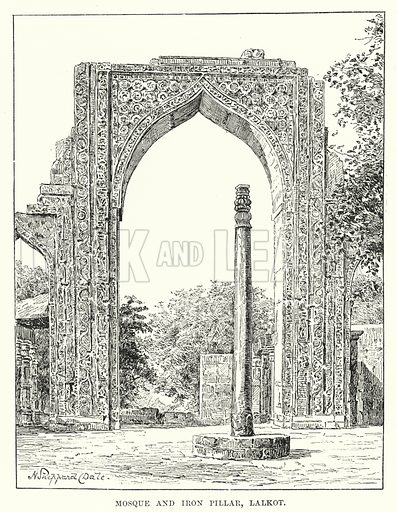Mosque and Iron Pillar, Lalkot. Illustration for Picturesque India, A Handbook for European Travellers (George Routledge, 1898).  Illustrations drawn by John Pedder (1850-1929), H Sheppard Dale (1852-1921), and H H Stanton (fl 1880-1905).