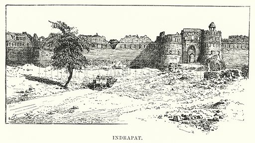 Indrapat. Illustration for Picturesque India, A Handbook for European Travellers (George Routledge, 1898).  Illustrations drawn by John Pedder (1850-1929), H Sheppard Dale (1852-1921), and H H Stanton (fl 1880-1905).