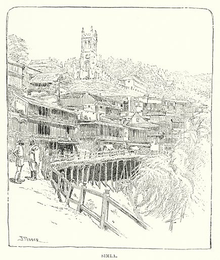 Simla. Illustration for Picturesque India, A Handbook for European Travellers (George Routledge, 1898).  Illustrations drawn by John Pedder (1850-1929), H Sheppard Dale (1852-1921), and H H Stanton (fl 1880-1905).