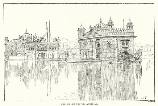 The Golden Temple, Amritsar. Illustration for Picturesque India, A Handbook for European Travellers (George Routledge, 1898).  Illustrations drawn by John Pedder (1850-1929), H Sheppard Dale (1852-1921), and H H Stanton (fl 1880-1905).