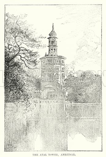 The Atal Tower, Amritsar. Illustration for Picturesque India, A Handbook for European Travellers (George Routledge, 1898).  Illustrations drawn by John Pedder (1850-1929), H Sheppard Dale (1852-1921), and H H Stanton (fl 1880-1905).