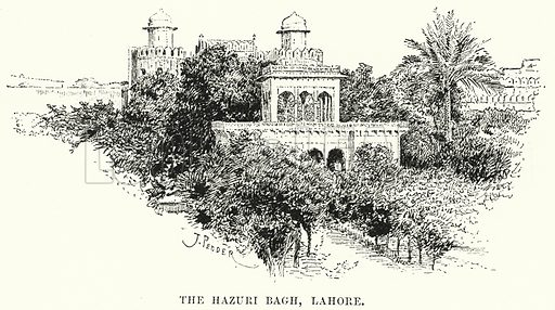 The Hazuri Bagh, Lahore. Illustration for Picturesque India, A Handbook for European Travellers (George Routledge, 1898).  Illustrations drawn by John Pedder (1850-1929), H Sheppard Dale (1852-1921), and H H Stanton (fl 1880-1905).