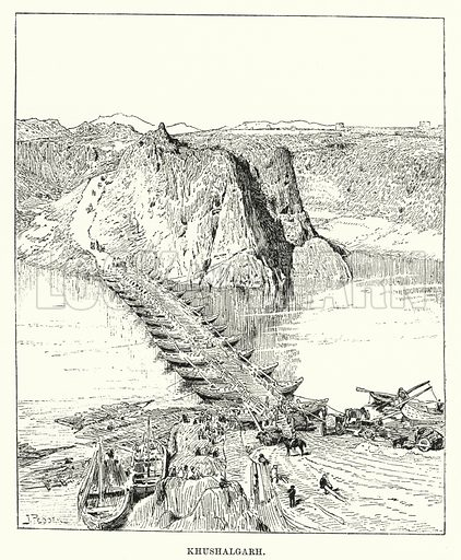 Khushalgarh. Illustration for Picturesque India, A Handbook for European Travellers (George Routledge, 1898).  Illustrations drawn by John Pedder (1850-1929), H Sheppard Dale (1852-1921), and H H Stanton (fl 1880-1905).