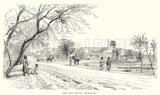 The Bala Hissar, Peshawar. Illustration for Picturesque India, A Handbook for European Travellers (George Routledge, 1898).  Illustrations drawn by John Pedder (1850-1929), H Sheppard Dale (1852-1921), and H H Stanton (fl 1880-1905).