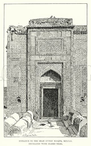 Entrance to the Shah Gutlej Mosque, Multan. Decorated with Glazed Tiles. Illustration for Picturesque India, A Handbook for European Travellers (George Routledge, 1898).  Illustrations drawn by John Pedder (1850-1929), H Sheppard Dale (1852-1921), and H H Stanton (fl 1880-1905).