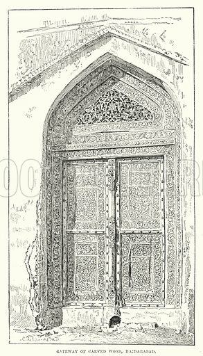 Gateway of Carved Wood, Haidarabad. Illustration for Picturesque India, A Handbook for European Travellers (George Routledge, 1898).  Illustrations drawn by John Pedder (1850-1929), H Sheppard Dale (1852-1921), and H H Stanton (fl 1880-1905).