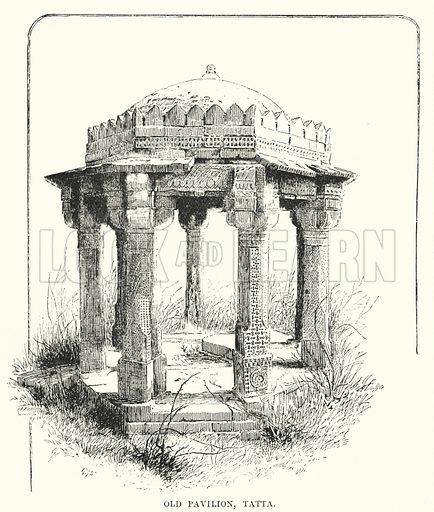 Old Pavilion, Tatta. Illustration for Picturesque India, A Handbook for European Travellers (George Routledge, 1898).  Illustrations drawn by John Pedder (1850-1929), H Sheppard Dale (1852-1921), and H H Stanton (fl 1880-1905).
