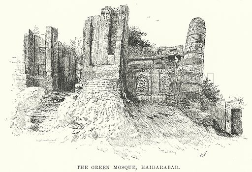 The Green Mosque, Haidarabad. Illustration for Picturesque India, A Handbook for European Travellers (George Routledge, 1898).  Illustrations drawn by John Pedder (1850-1929), H Sheppard Dale (1852-1921), and H H Stanton (fl 1880-1905).