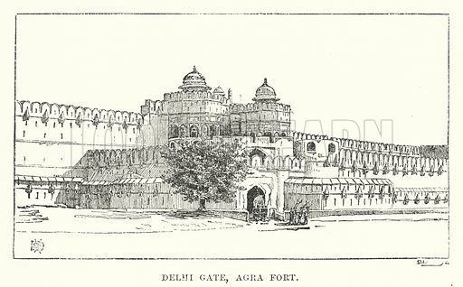 Delhi Gate, Agra Fort. Illustration for Picturesque India, A Handbook for European Travellers (George Routledge, 1898).  Illustrations drawn by John Pedder (1850-1929), H Sheppard Dale (1852-1921), and H H Stanton (fl 1880-1905).