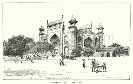 Entrance Gate of Taj Mahal, Agra. Illustration for Picturesque India, A Handbook for European Travellers (George Routledge, 1898).  Illustrations drawn by John Pedder (1850-1929), H Sheppard Dale (1852-1921), and H H Stanton (fl 1880-1905).