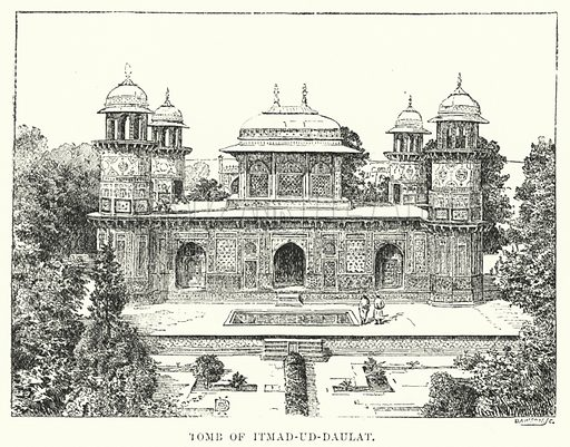 Tomb of Itmad-ud-Daulat. Illustration for Picturesque India, A Handbook for European Travellers (George Routledge, 1898).  Illustrations drawn by John Pedder (1850-1929), H Sheppard Dale (1852-1921), and H H Stanton (fl 1880-1905).