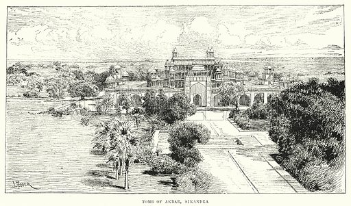 Tomb of Akbar, Sikandra. Illustration for Picturesque India, A Handbook for European Travellers (George Routledge, 1898).  Illustrations drawn by John Pedder (1850-1929), H Sheppard Dale (1852-1921), and H H Stanton (fl 1880-1905).
