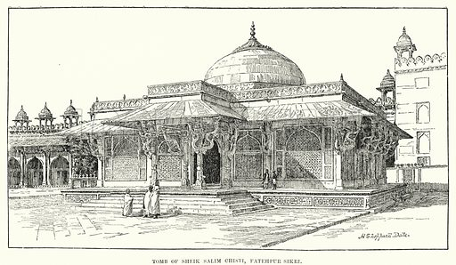 Tomb of Sheik Salim Chisti, Fatehpur Sikri. Illustration for Picturesque India, A Handbook for European Travellers (George Routledge, 1898).  Illustrations drawn by John Pedder (1850-1929), H Sheppard Dale (1852-1921), and H H Stanton (fl 1880-1905).