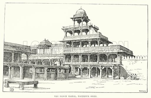 The Panch Mahal, Fatehpur Sikri. Illustration for Picturesque India, A Handbook for European Travellers (George Routledge, 1898).  Illustrations drawn by John Pedder (1850-1929), H Sheppard Dale (1852-1921), and H H Stanton (fl 1880-1905).