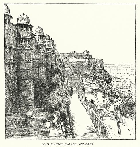 Man Mandir Palace, Gwalior. Illustration for Picturesque India, A Handbook for European Travellers (George Routledge, 1898).  Illustrations drawn by John Pedder (1850-1929), H Sheppard Dale (1852-1921), and H H Stanton (fl 1880-1905).