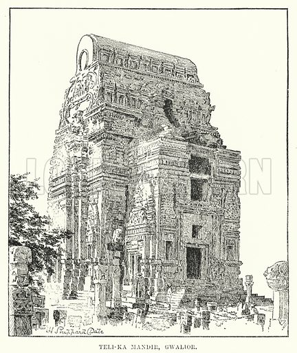 Teli-Ka Mandir, Gwalior. Illustration for Picturesque India, A Handbook for European Travellers (George Routledge, 1898).  Illustrations drawn by John Pedder (1850-1929), H Sheppard Dale (1852-1921), and H H Stanton (fl 1880-1905).