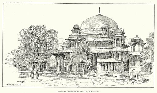 Tomb of Muhammad Ghaus, Gwalior. Illustration for Picturesque India, A Handbook for European Travellers (George Routledge, 1898).  Illustrations drawn by John Pedder (1850-1929), H Sheppard Dale (1852-1921), and H H Stanton (fl 1880-1905).