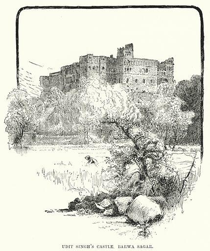 Udit Singh's Castle, Barwa Sagar. Illustration for Picturesque India, A Handbook for European Travellers (George Routledge, 1898).  Illustrations drawn by John Pedder (1850-1929), H Sheppard Dale (1852-1921), and H H Stanton (fl 1880-1905).