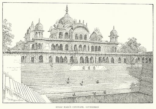 Suraj Mall's Cenotaph, Goverdhan. Illustration for Picturesque India, A Handbook for European Travellers (George Routledge, 1898).  Illustrations drawn by John Pedder (1850-1929), H Sheppard Dale (1852-1921), and H H Stanton (fl 1880-1905).
