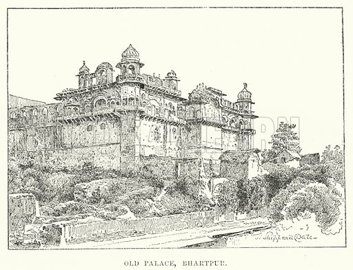 Old Palace, Bhartpur. Illustration for Picturesque India, A Handbook for European Travellers (George Routledge, 1898).  Illustrations drawn by John Pedder (1850-1929), H Sheppard Dale (1852-1921), and H H Stanton (fl 1880-1905).