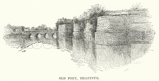 Old Fort, Bharatpur. Illustration for Picturesque India, A Handbook for European Travellers (George Routledge, 1898).  Illustrations drawn by John Pedder (1850-1929), H Sheppard Dale (1852-1921), and H H Stanton (fl 1880-1905).