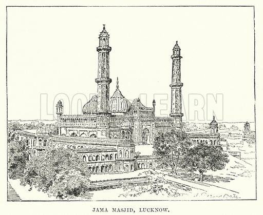 Jama Masjid, Lucknow. Illustration for Picturesque India, A Handbook for European Travellers (George Routledge, 1898).  Illustrations drawn by John Pedder (1850-1929), H Sheppard Dale (1852-1921), and H H Stanton (fl 1880-1905).