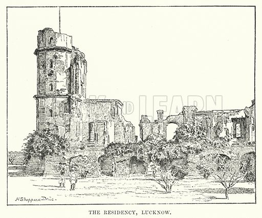 The Residency, Lucknow. Illustration for Picturesque India, A Handbook for European Travellers (George Routledge, 1898).  Illustrations drawn by John Pedder (1850-1929), H Sheppard Dale (1852-1921), and H H Stanton (fl 1880-1905).