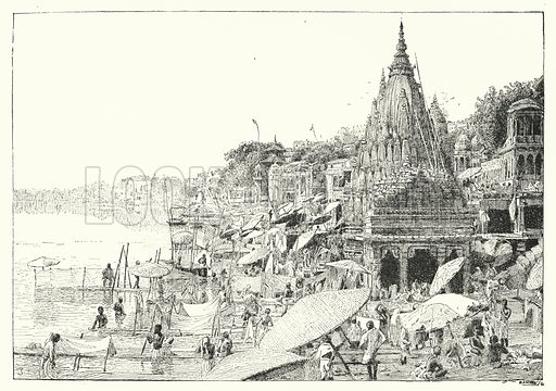 Bathing Ghats, Benares. Illustration for Picturesque India, A Handbook for European Travellers (George Routledge, 1898).  Illustrations drawn by John Pedder (1850-1929), H Sheppard Dale (1852-1921), and H H Stanton (fl 1880-1905).