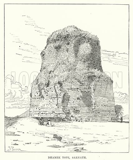 Dhamek Tope, Sarnath. Illustration for Picturesque India, A Handbook for European Travellers (George Routledge, 1898).  Illustrations drawn by John Pedder (1850-1929), H Sheppard Dale (1852-1921), and H H Stanton (fl 1880-1905).