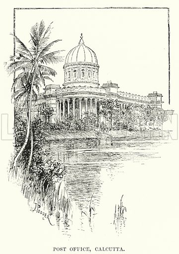 Post Office, Calcutta. Illustration for Picturesque India, A Handbook for European Travellers (George Routledge, 1898).  Illustrations drawn by John Pedder (1850-1929), H Sheppard Dale (1852-1921), and H H Stanton (fl 1880-1905).